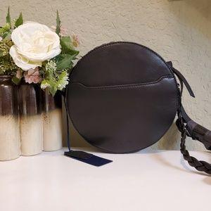 Rachel Roy Black Round Leather Crossbody Bag